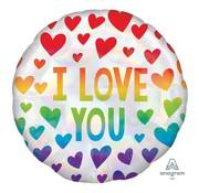 Anagram Standard Shape Folieballon Iridescent Rainbow Hearts 45 x 45 cm