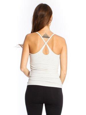 Yogamii - Organic Yoga Wear Strap Top Nidra Grey Off-white Melee