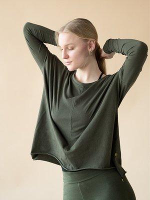Yogamii - Duurzame Yoga Kleding Drapy Tee Dark Olive