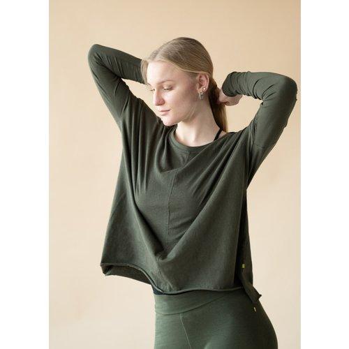 Yogamii - Organic Yoga Wear Drapy Tee Dark Olive