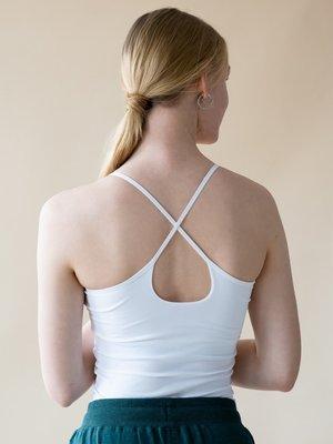 Yogamii - Organic Yoga Wear Strap Top Nidra White