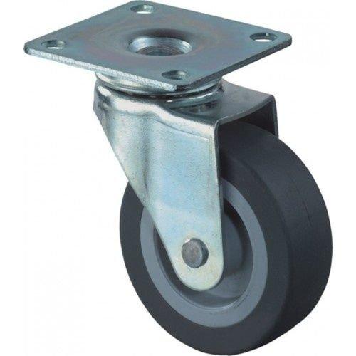 Kelfort Kelfort zwenkwiel met plaat 30mm, grijs rubber loopvlak