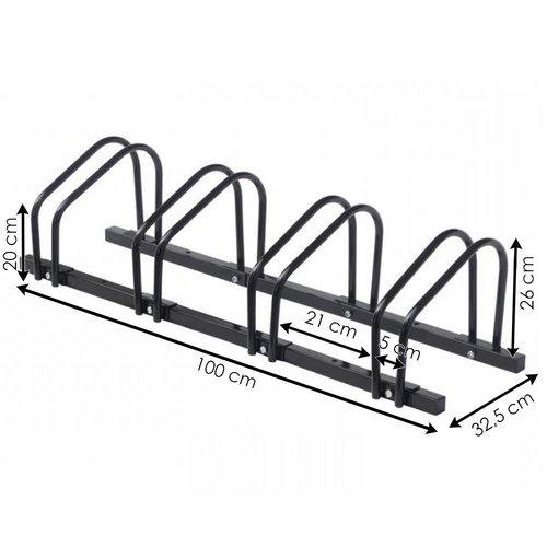 Import Fietsenrek voor 4 fietsen, zwart staal.