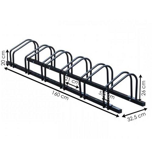 Import Fietsenrek voor 6 fietsen, zwart staal.