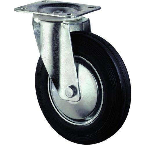Kelfort Zwenkwiel met plaat 105mm, Zwart rubber loopvlak