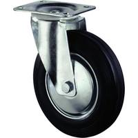 Zwenkwiel met plaat 105mm, Met rem. Zwart rubber loopvlak