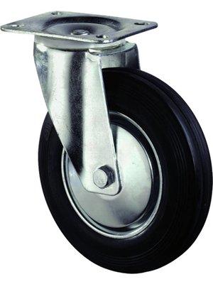 Kelfort Zwenkwiel met plaat 105mm, Met rem. Zwart rubber loopvlak