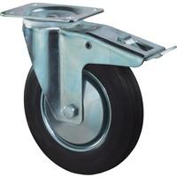 Zwenkwiel met plaat 195mm, Met rem. Zwart rubber loopvlak