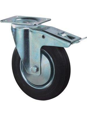 Kelfort Zwenkwiel met plaat 195mm, Met rem. Zwart rubber loopvlak