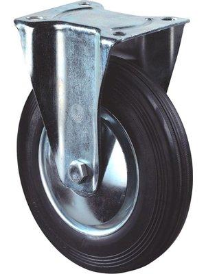 Kelfort Bokwiel met plaat 128mm, Zwart rubber loopvlak