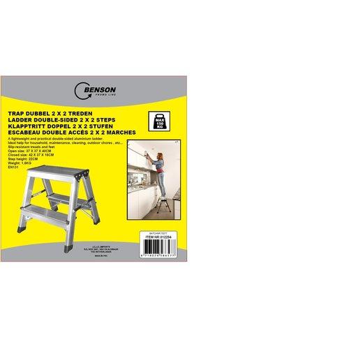 Benson Benson  Dubbelzijdige aluminium trap 2x2 treden. max 150kg
