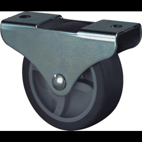 Kelfort BOKWIEL 25mm. Grijs rubber loopvlak met glijlager.