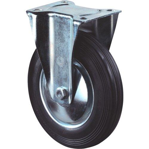 Kelfort Bokwiel met plaat 105mm, Zwart rubber loopvlak