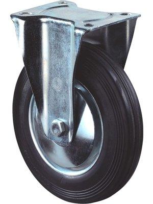 Kelfort Bokwiel met plaat 195mm, Zwart rubber loopvlak