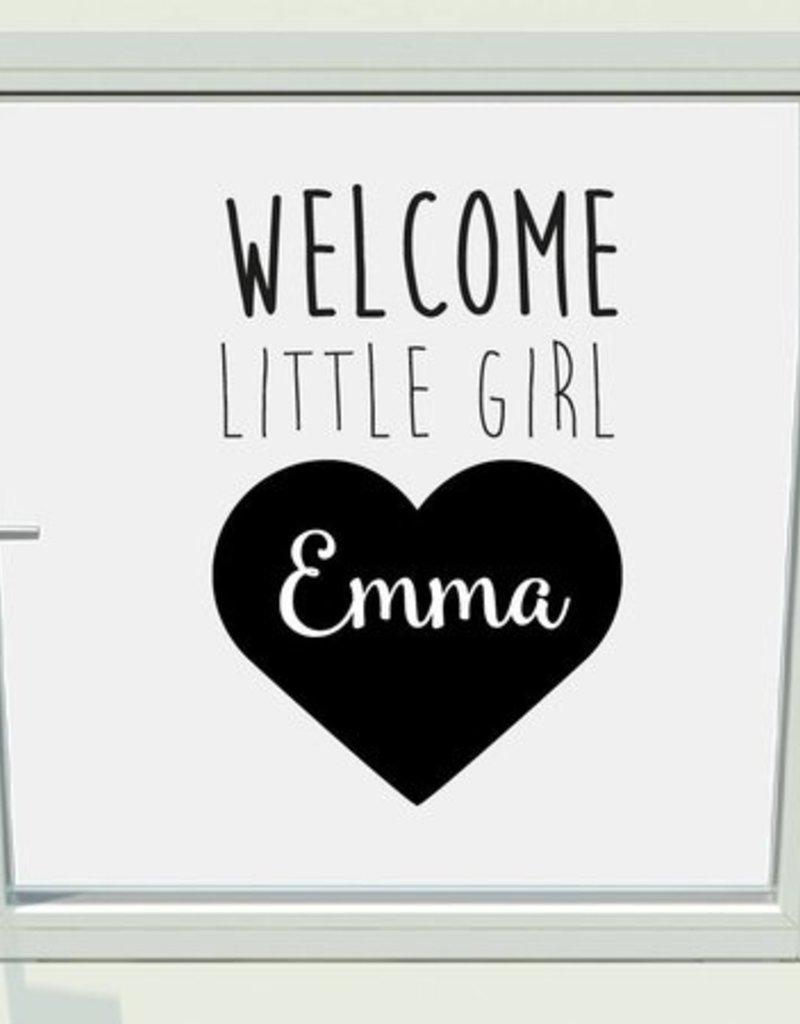 Geboorte raam sticker welcome little girl met naam