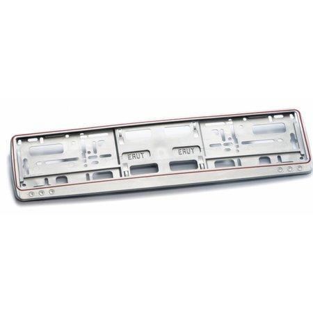 Kader GRIJS met rode rand 2-Delig (PP) voor nummerplaat 520x110mm