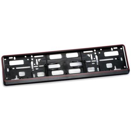 Kader ZWART met rode rand  2-Delig (PP) voor nummerplaat 520x110mm