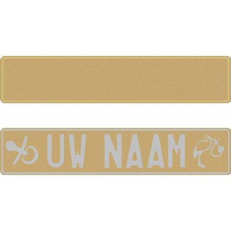 Funplaat Funplaat Glitter Goud- Op Naam 520 x 112