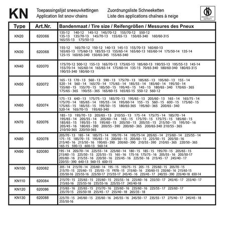 ProPlus Sneeuwketting KN20 - 9mm