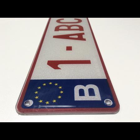 Europese Nummerplaat PLEXI (BELGIË)  520x 110mm WIT