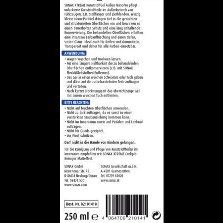 Sonax Sonax Xtreme Kunststof Onderhoud Gel 250ml