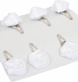6977 - Haarspelden  witte roosjes