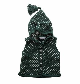 Bamboo & Love  AW17-KV03 KNIT VEST W/ HOODIE C23 - PICKLE DOTS GREEN + PEARL -