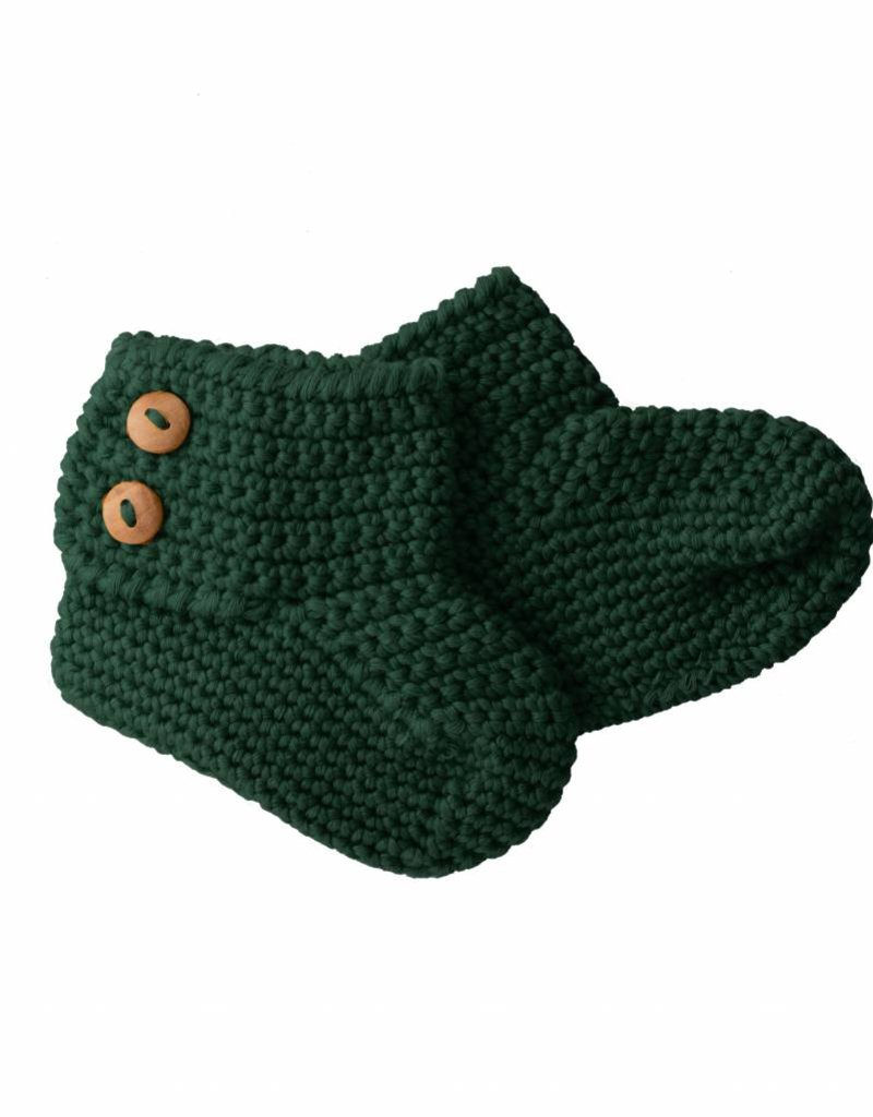 Bamboo & Love   KNIT BOOTIES 2 C19 - BOTTLE GREEN