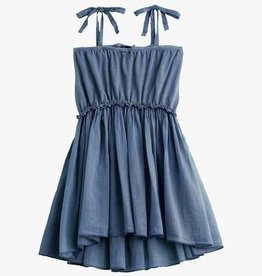 Tocoto Vintage Knitted cotton linen dress + voile  blue