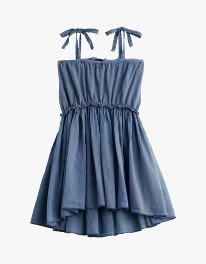 02e2e55493a Knitted cotton linen dress + voile blue - So Lovable