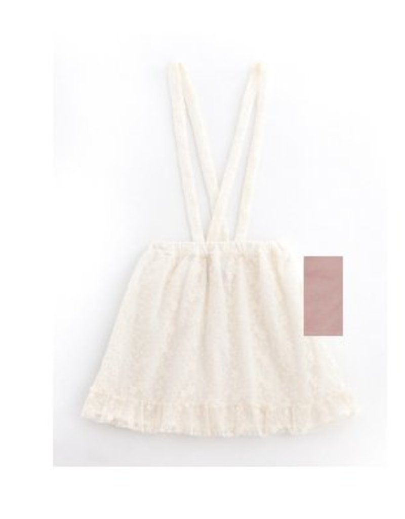 Tocoto Vintage Embrodery Tulle skirt with suspenders PINK