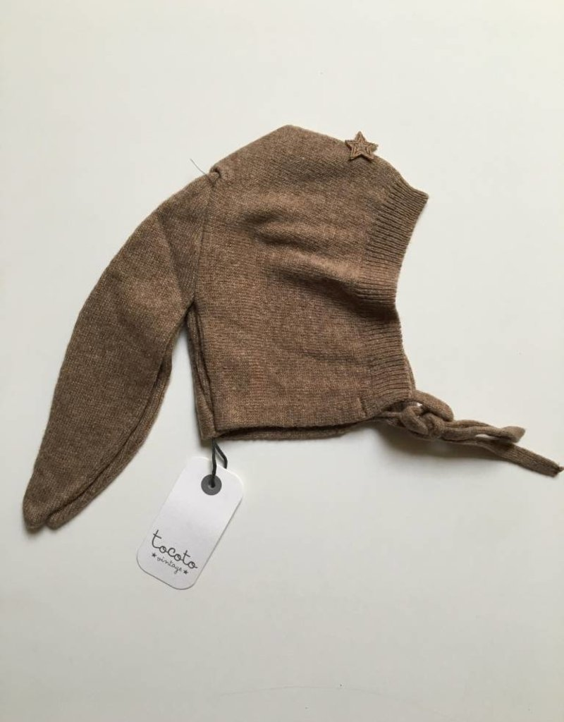 Tocoto Vintage Knitted Rabbit Ears  Bonnet BROWN