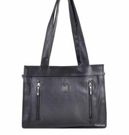 Handtas zwart met vakjes