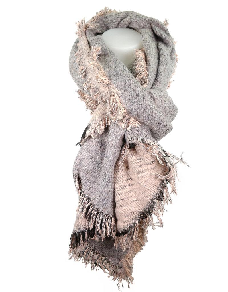 Sjaal grijs/roze