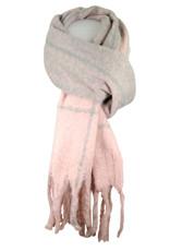 Sjaal roze/ lichtgrijs