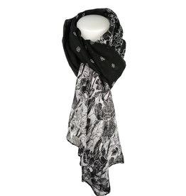 Sjaal Black Flowers