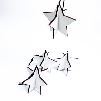 Christmas stars 3D (4 pices) - White