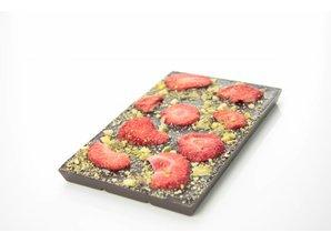 SJOKOLAT Tablet pure chocolade met aardbei en pistache