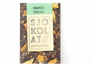 SJOKOLAT A bar of dark chocolate with mango and chili pepper