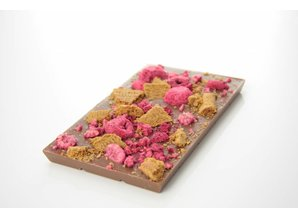 SJOKOLAT A bar of milk chocolate with speculoos and raspberry