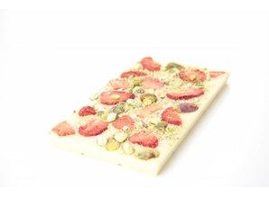 SJOKOLAT Tablet witte chocolade met aardbei en pistache
