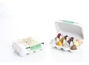 SJOKOLAT 12 assorted chocolate Easter eggs in cardboard egg carton