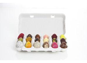 SJOKOLAT Assortiment chocolade paaseitjes in eierdoos  - 18 stuks