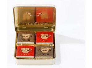 Café-Tasse Metal Box with Assorted Chocolate Squares