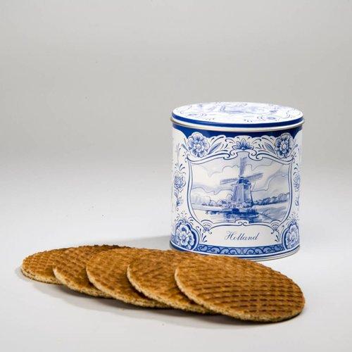 10 Dutch syrup waffles in a Delft blue tin jar