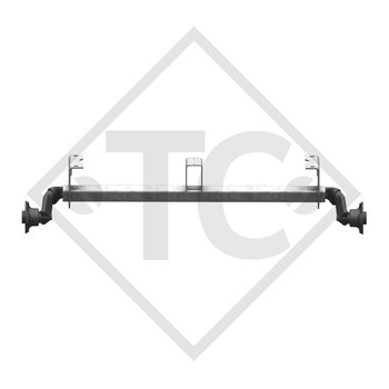 Unbraked axle 750kg BASIC axle type 700-5 watertight with shackle and high axle bracket
