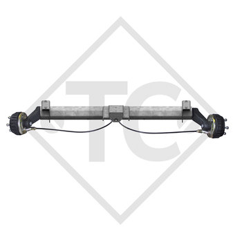 Braked tandem front axle 900kg BASIC axle type B 850-5 with top hat profile 90mm
