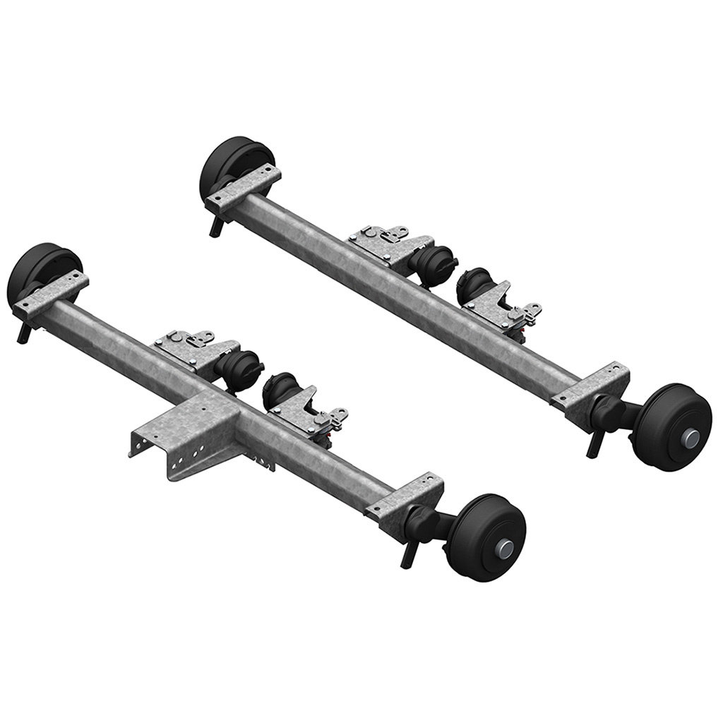 AXLES WITH RUBBER SUSPENSION FOR TRAILERS WITH PNEUMATIC BRAKES, TANDEM UP TO 3500KG, AXLE TYPE BL 1800