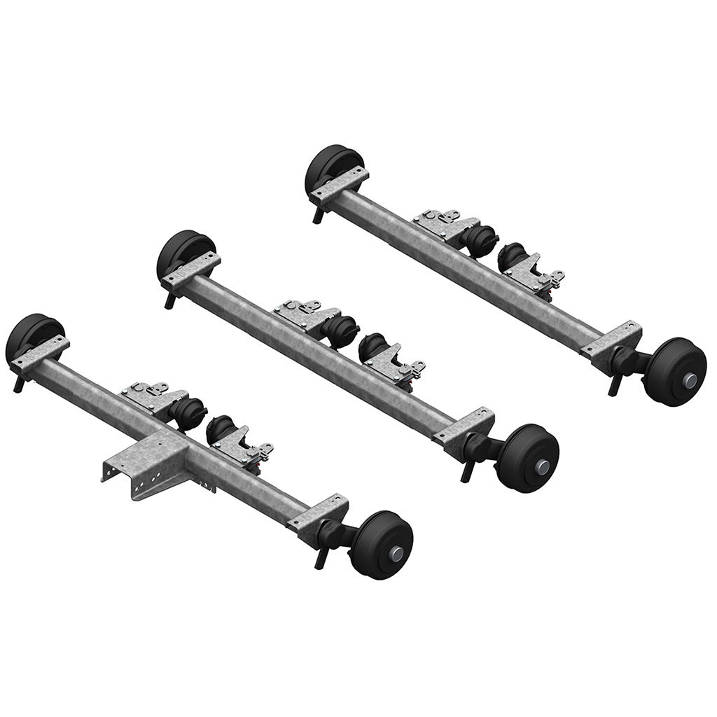 AXLES WITH RUBBER SUSPENSION FOR TRAILERS WITH PNEUMATIC BRAKES, TRIDEM UP TO 4300KG, AXLE TYPE BL 1800
