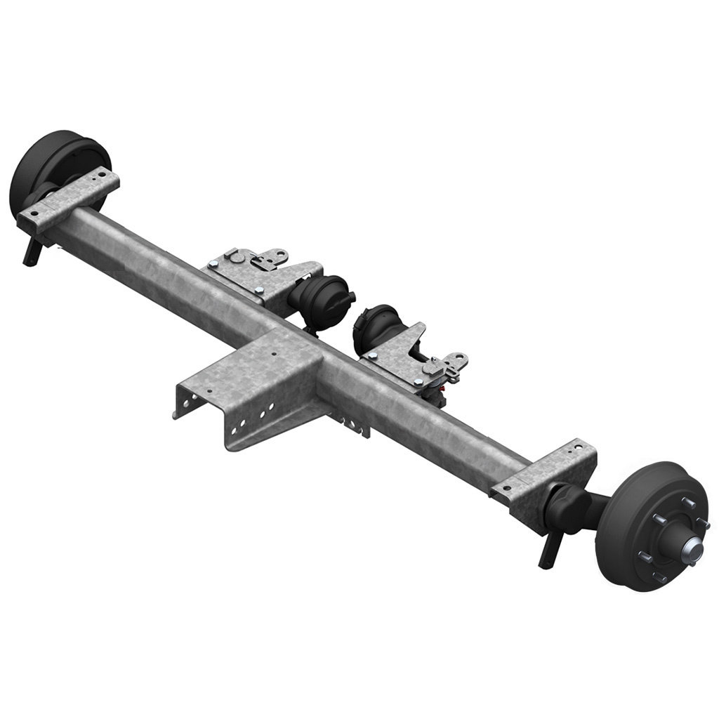 AXLES WITH RUBBER SUSPENSION FOR TRAILERS WITH PNEUMATIC BRAKES, SINGLE AXLE UP TO 4000KG, AXLE TYPE BT 4000
